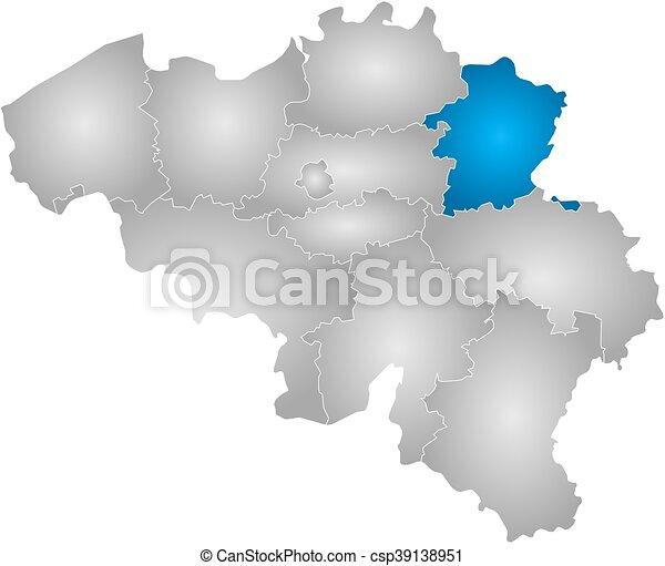 Map belgium limburg map of belgium with the provinces filled map belgium limburg csp39138951 gumiabroncs Images