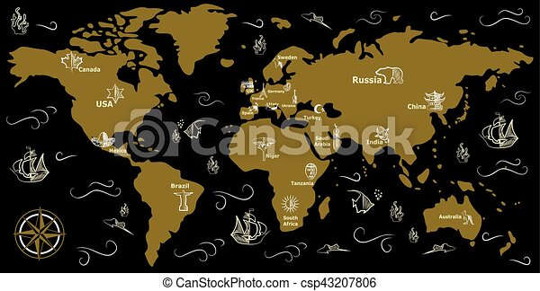 Map black gold illustration with a beautiful map of all the map black gold csp43207806 gumiabroncs Images