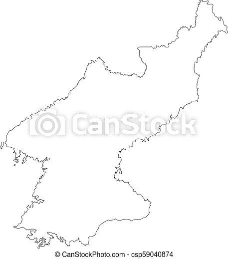 Contour Map Of South Korea Map Black Outline North Korea