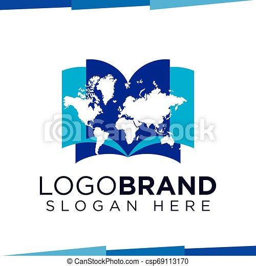 Map Book logo vector template - csp69113170