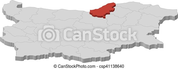 Map bulgaria ruse 3dillustration Map of bulgaria as a eps