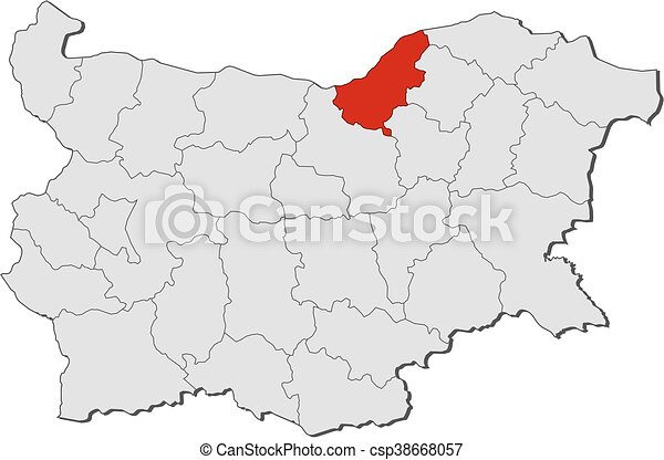 Map bulgaria ruse Map of bulgaria with the provinces clipart