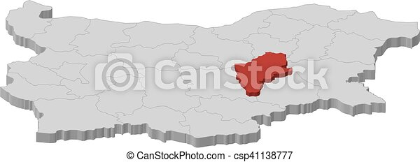 Map bulgaria sliven 3dillustration Map of bulgaria as