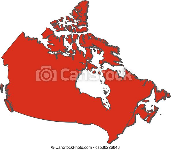 Colored Map Of Canada.Map Canada Map Of Canada With The Provinces Colored In Red