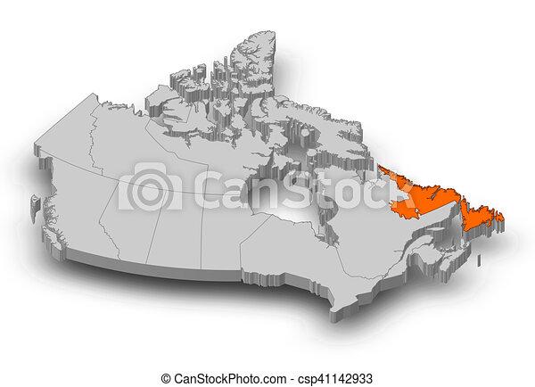 Map Of Canada Newfoundland.Map Canada Newfoundland And Labrador 3d Illustration