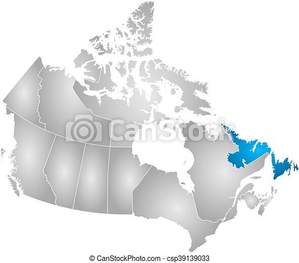 Map Of Canada Newfoundland.Map Canada Newfoundland And Labrador