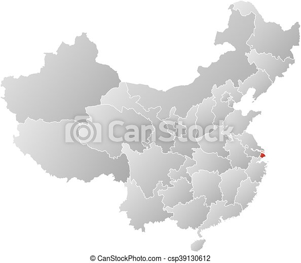 Shanghai Map Of China.Map China Shanghai Map Of China With The Provinces Filled With