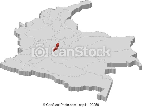 Map - colombia, bogota - 3d-illustration. Map of colombia as a gray ...