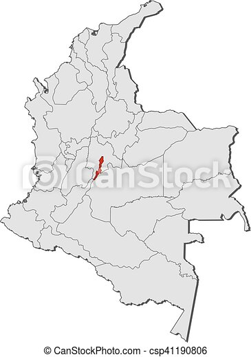 Map - colombia, bogota. Map of colombia with the provinces, bogota ...