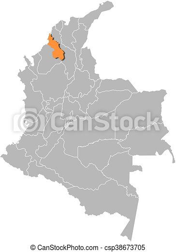 Map colombia sucre Map of colombia with the provinces vector