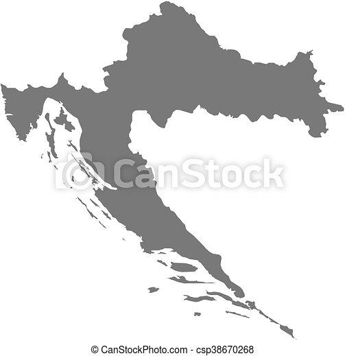 Map - croatia. Map of croatia as a dark area.