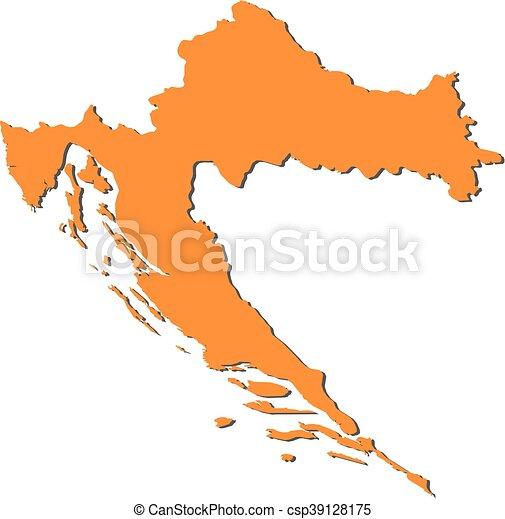 Map - croatia. Map of croatia, filled in orange.