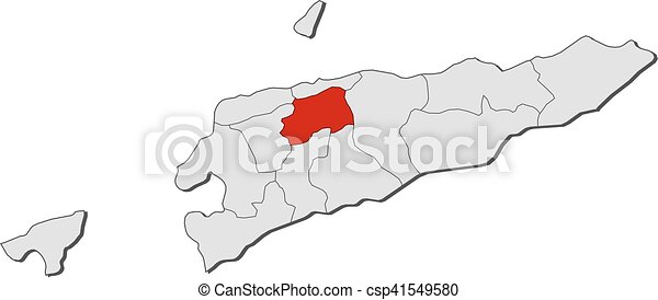 Map East Timor Aileu Map Of East Timor With The Vector - East timor seetimor leste map vector