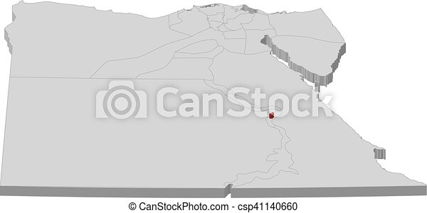 Map Egypt Luxor 3d Illustration Map Of Egypt As A Gray Piece
