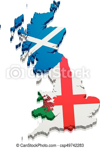 Map England Scotland Wales Detailed Illustration Of A Map Of