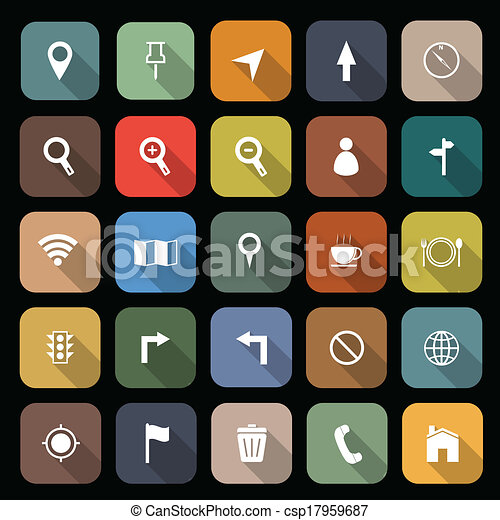 Map flat icon with long shadow - csp17959687