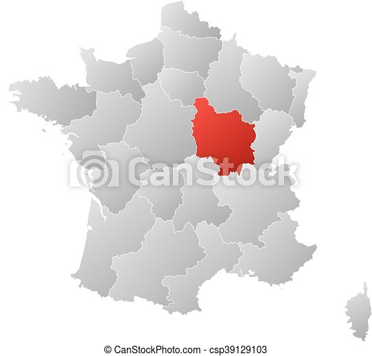 Map france burgundy map of france with the provinces filled map france burgundy csp39129103 gumiabroncs Images