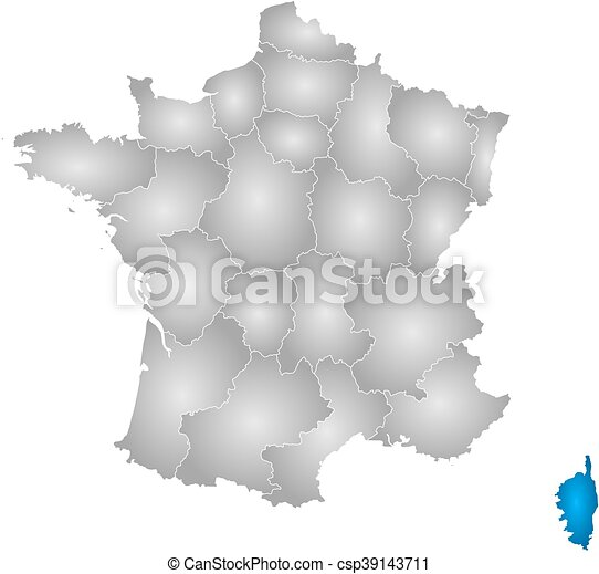 Map Of France And Corsica.Map France Corsica Map Of France With The Provinces Filled With