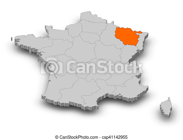 Map France Lorraine 3d Illustration Map Of France As A Gray