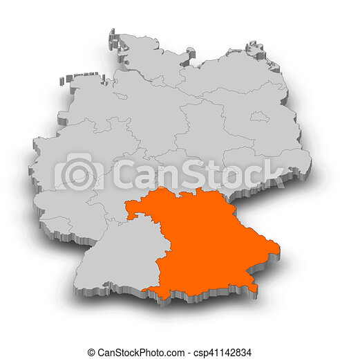 Map Of Germany Bavaria.Map Germany Bavaria 3d Illustration Map Of Germany As A Gray