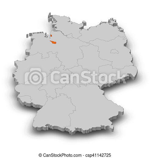 map germany bremen 3d illustration