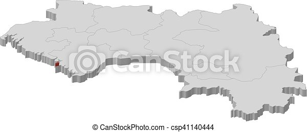 Map guinea conakry 3dillustration Map of guinea as a eps
