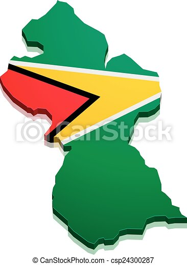 Map guyana. Detailed illustration of a map of guyana with flag ...