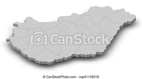 3d térkép magyarország Map   hungary   3d illustration. Map of hungary as a gray  3d térkép magyarország