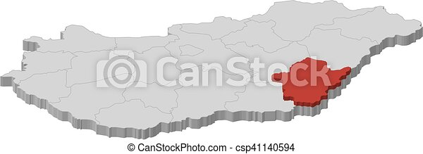 Map Hungary Bekes 3d Illustration Map Of Hungary As A Gray