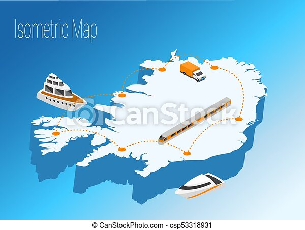 Map iceland isometric concept. 3d flat illustration of map ...