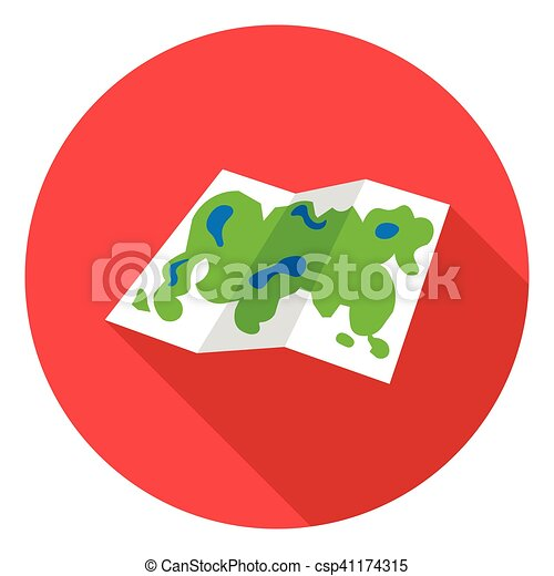 Map icon in flat style isolated on white background. Camping symbol stock vector illustration. - csp41174315