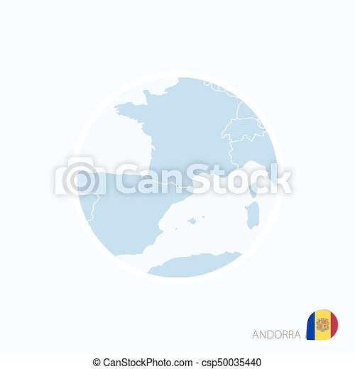 Map Icon Of Andorra Blue Map Of Europe With Highlighted Andorra In
