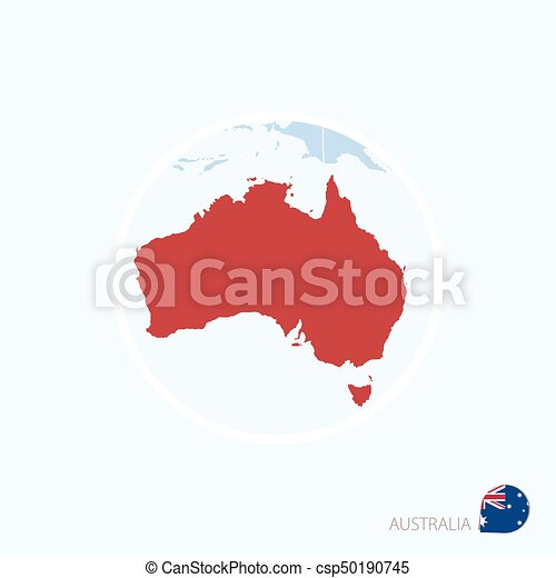 Australia Map Icon.Map Icon Of Australia Blue Map Of Oceania With Highlighted Australia In Red Color