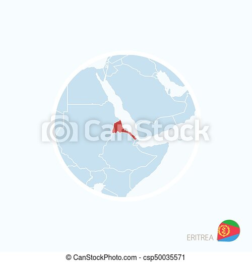 Map Of Africa Eritrea.Map Icon Of Eritrea Blue Map Of Africa With Highlighted Eritrea In Red Color