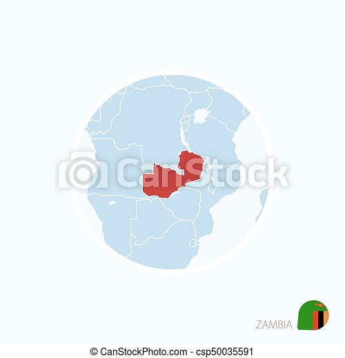 Zambia Map Of Africa.Map Icon Of Zambia Blue Map Of Africa With Highlighted Zambia In Red Color