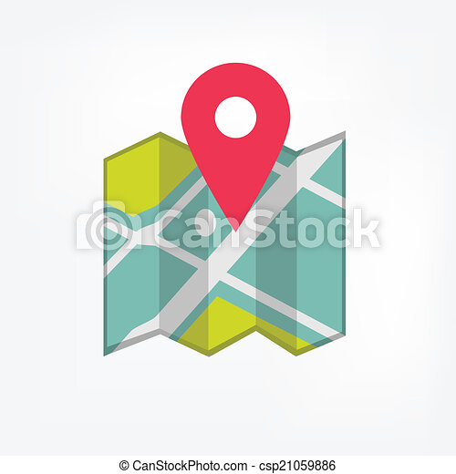 Map icon with pointer - csp21059886