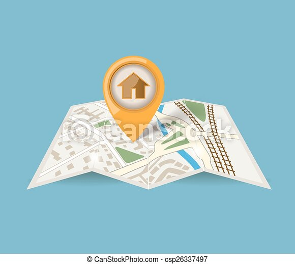map icon with pointer on blue background - csp26337497
