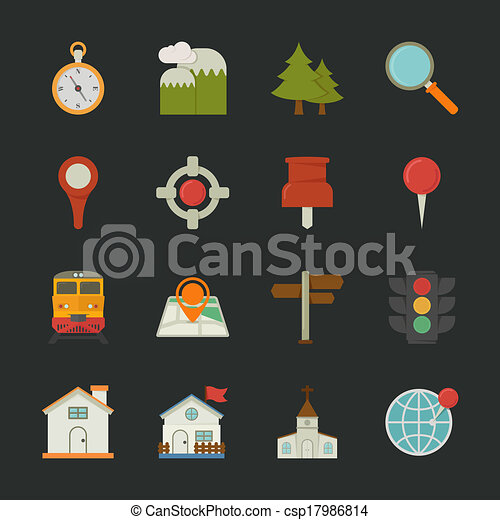 Map icons and location icons , flat design - csp17986814