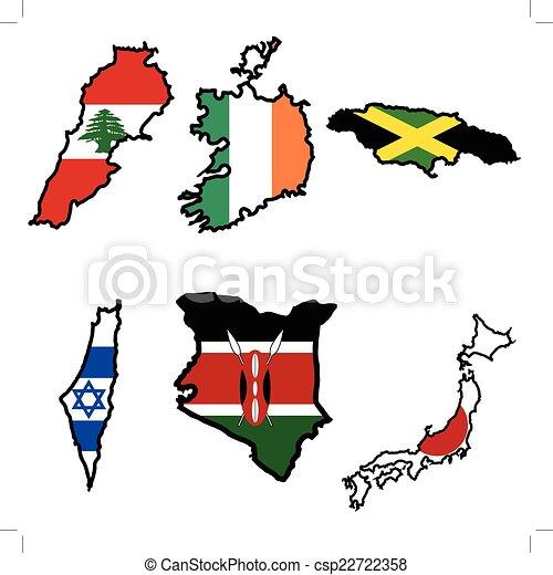Map in colors of Ireland, Israel, Jamaica, Japan, Kenya, Lebanon - csp22722358