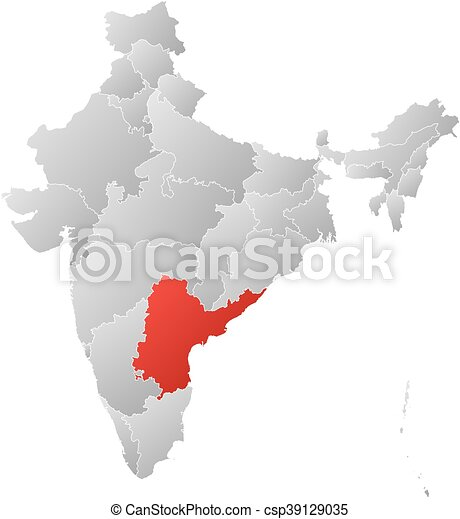 Map - india, andhra pradesh. Map of india with the provinces, filled ...