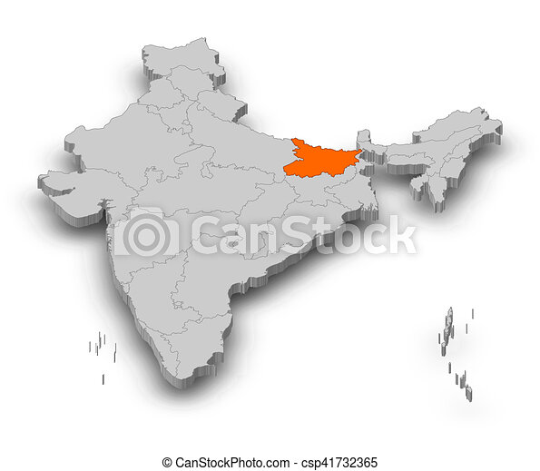 Map India Bihar 3d Illustration Map Of India As A Gray Piece
