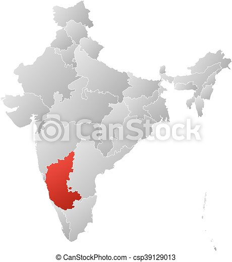 Map - india, karnataka. Map of india with the provinces, filled with ...