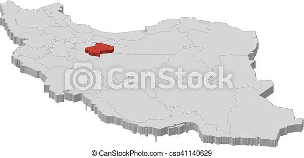 Map iran qom 3dillustration Map of iran as a gray vector