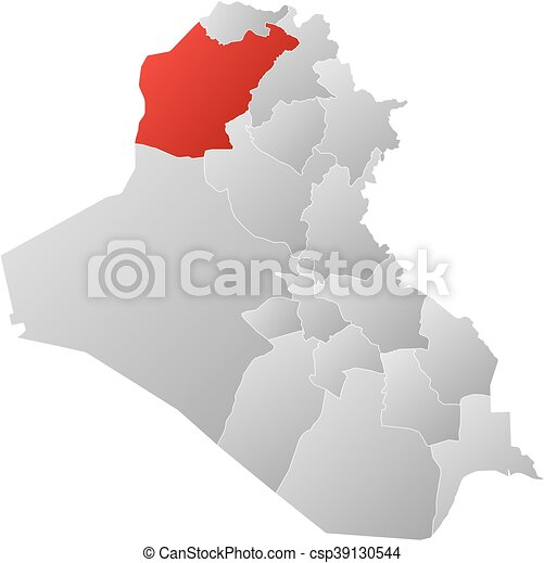 Map iraq ninawa Map of iraq with the provinces filled eps