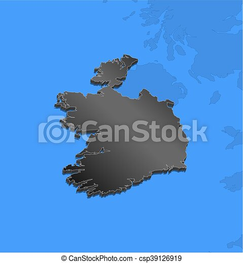Map Of Ireland 3d.Map Ireland 3d Illustration Map Of Ireland And Nearby Countries