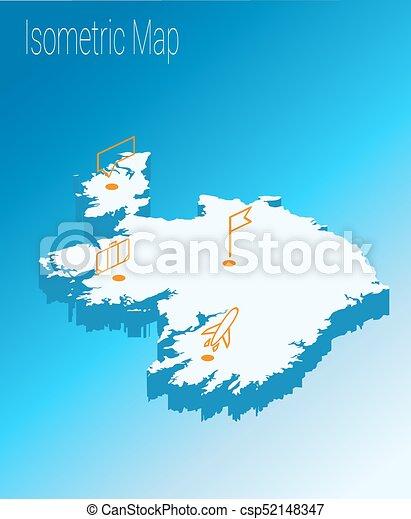 Map Of Ireland 3d.Map Ireland Isometric Concept