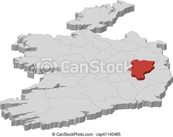 Map Ireland Kildare 3d Illustration Map Of Ireland As A Gray
