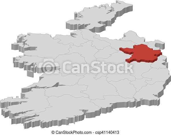 Map Ireland Meath 3d Illustration Map Of Ireland As A Gray