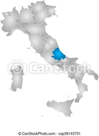 Map italy abruzzo Map of italy with the provinces vector