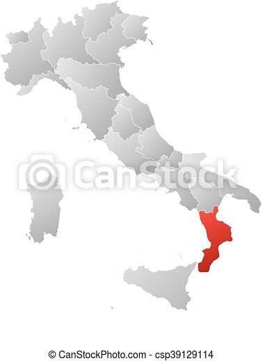 Map - italy, calabria. Map of italy with the provinces, filled with ...